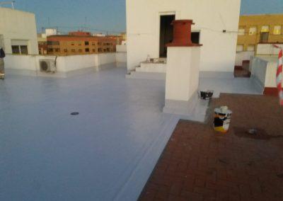 Terraza de rasilla con poliurea y tratamiento alifatico